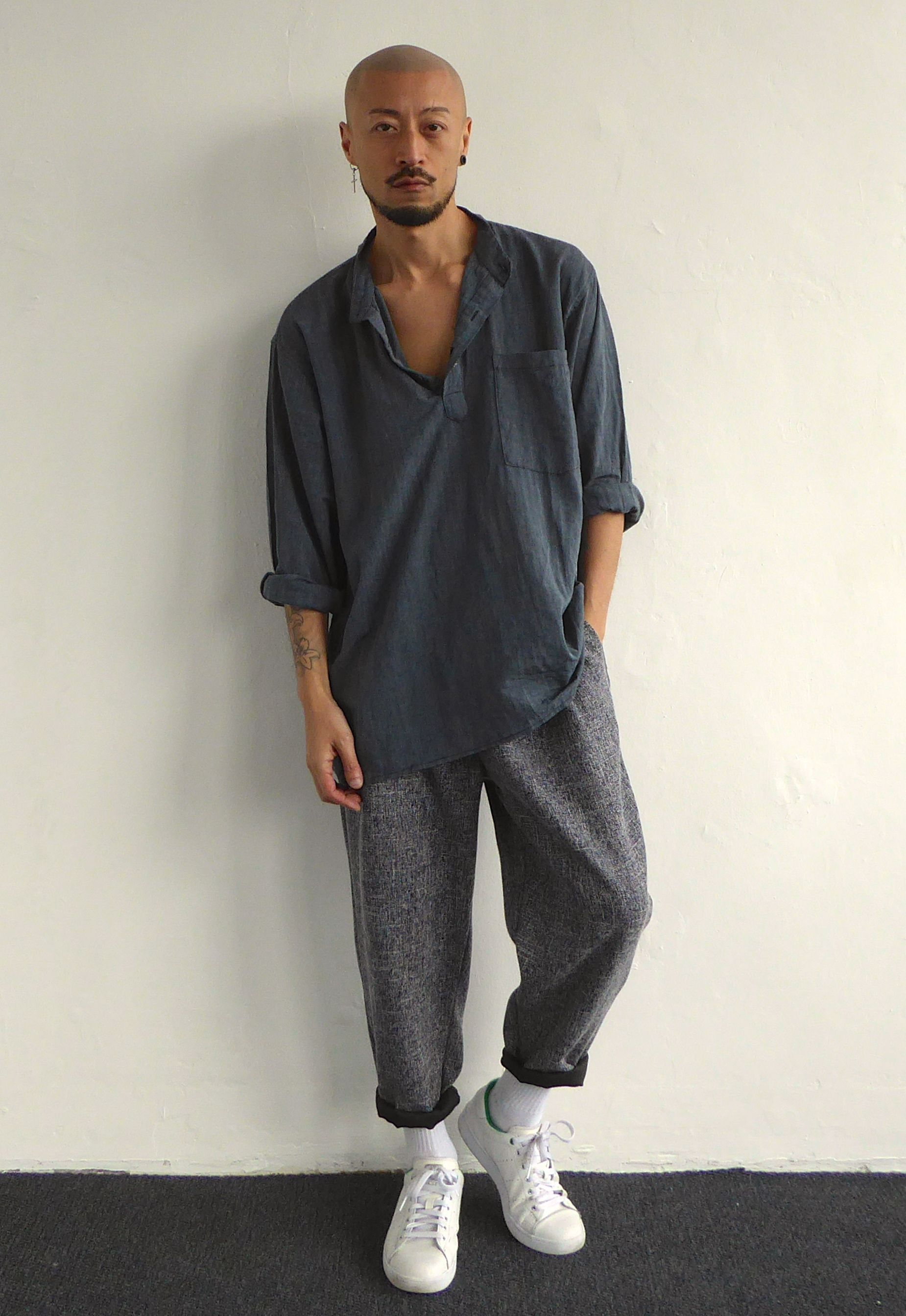 exquisite style low price new design Oversized Crinkly Grandad Shirt & Pleated Cropped Baggy ...