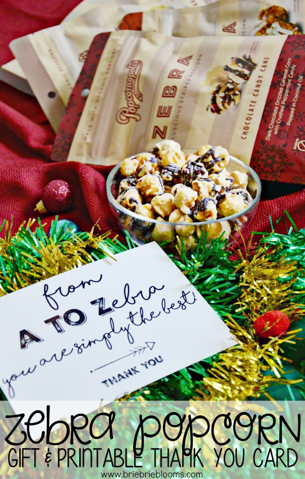 Zebra Popcorn Holiday Gift Ideas Pinterest Stardust Caramel With A Printable Thank You Card Is The Perfect Easy This Season Print At Home And For Quick