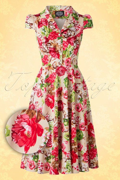 351abbb79921 Hearts and Roses Floral Creme 50s Swing Dress 102 57 15194 20150702 0011W1