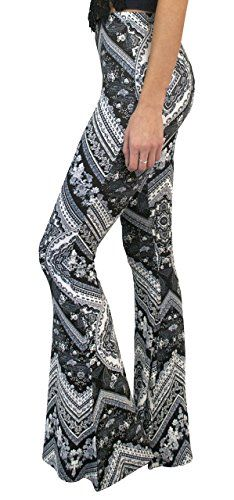 37eb7228f88c95 Daisy Del Sol High Waist Gypsy Comfy Yoga Ethnic Tribal Stretch 70s Bell  Bottom Flare Pants at Amazon Women's Clothing store: