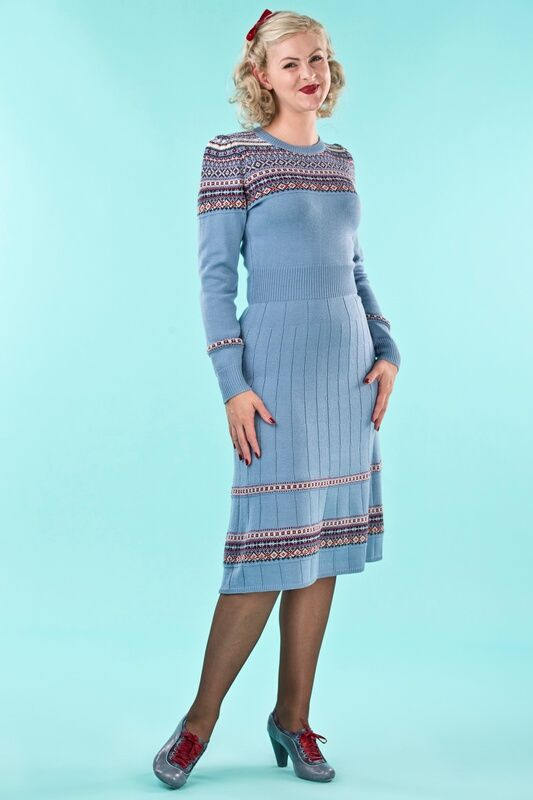 emmydesign - the Fair Isle knit dress. dusty blue | Emmy Design ...