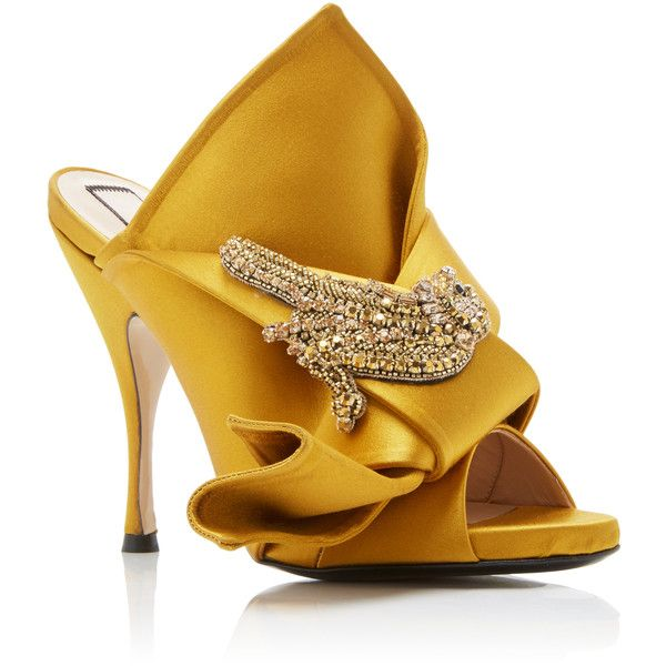 21 Satin Knot Mule featuring polyvore, women's fashion, shoes, heels,