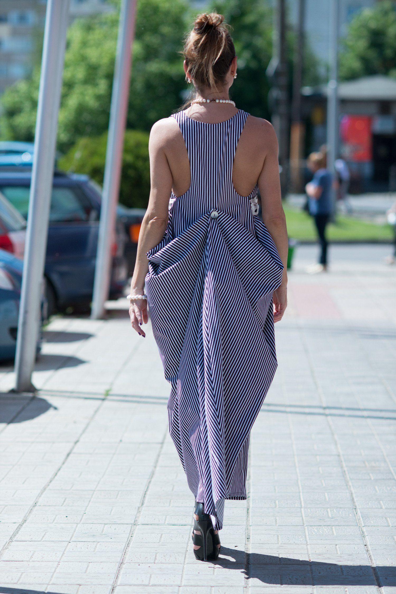 Cotton stripped dresses plus size clothing boho dress long dress
