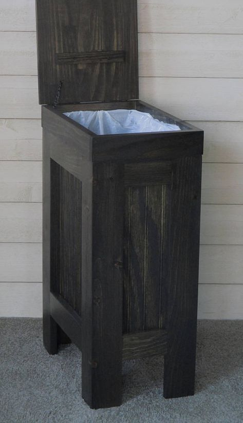 Wood Trash Bin, Kitchen Garbage Can, Wood Trash Can, Rustic Trash Bin, Wooden Trash Bin, Wooden Trash Can, 13 Gallon, Black Stain images