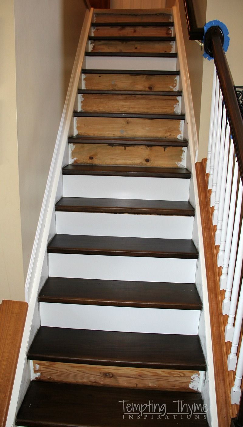 Good New Stairs For Under $100!!! Heading On Up: Installing New Stair Risers  #tempting Thyme
