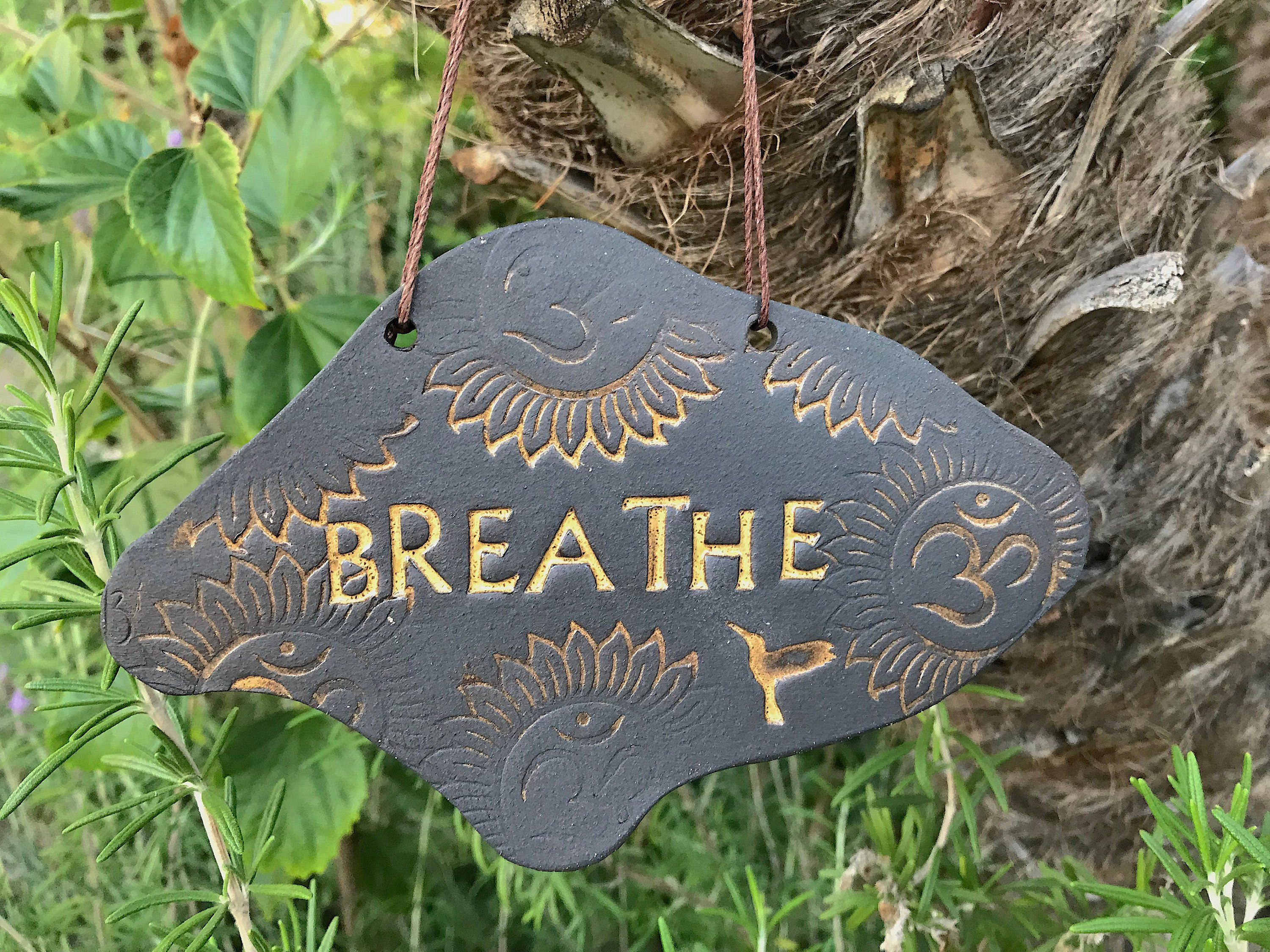 Om breathe sign ceramic wall hanging sign inspirational plaque wall