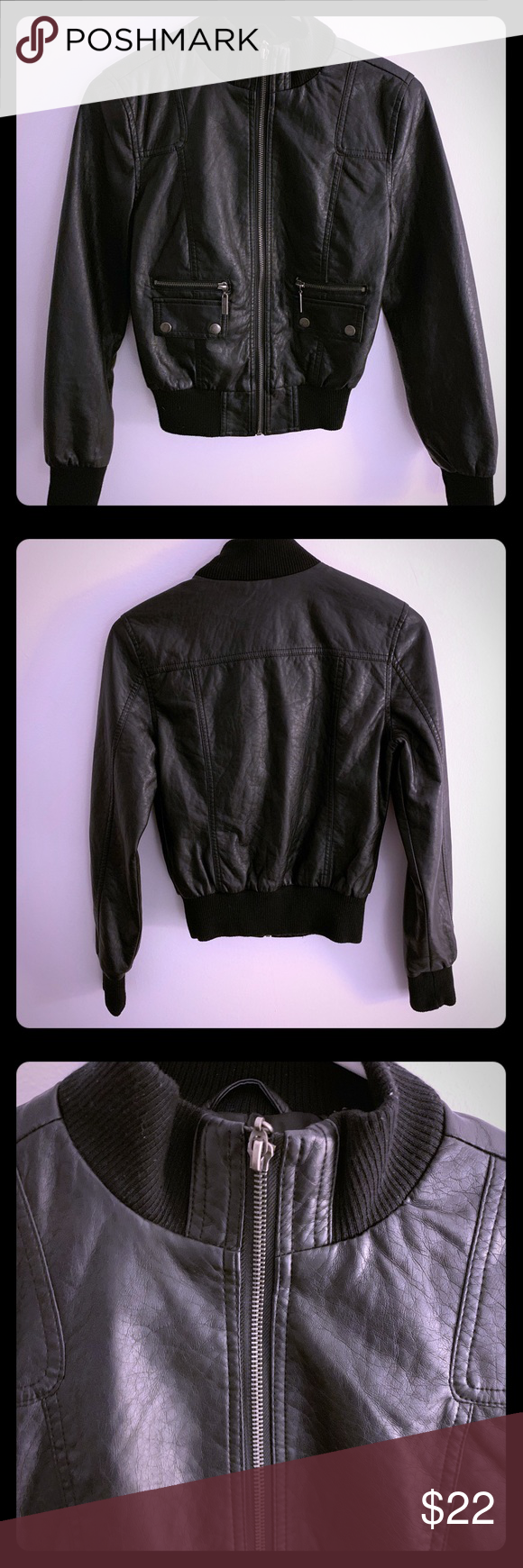 Crop Bomber in Black Faux Leather with Mock Neck Black