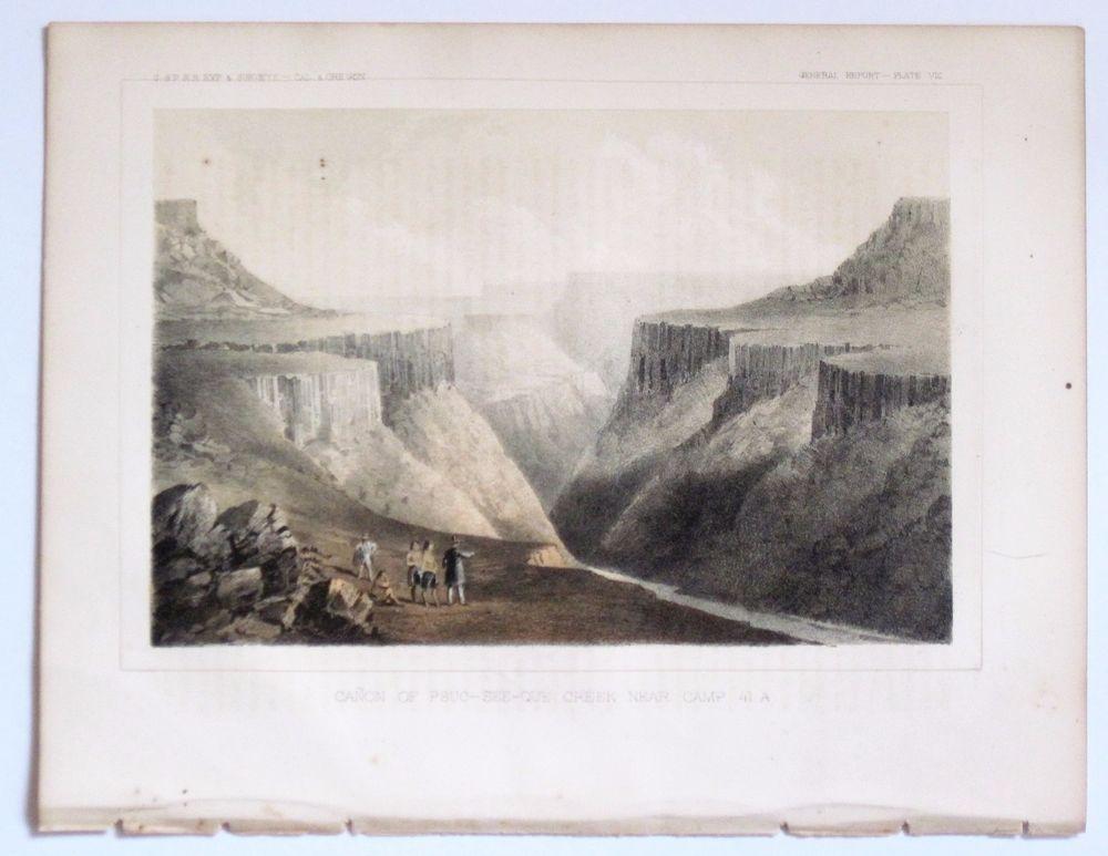 CANON OF PSUC-SEE-QUE CREEK 1857 Print USPRR Railroad RR Survey  #Realism