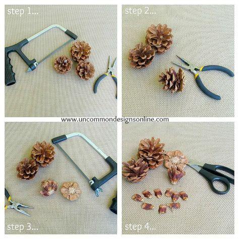 Pine Cone Flower Embellished Mason Jar #masonjardiy