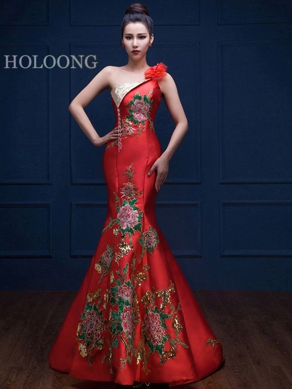 Chinese Red Wedding Dresses Online | Chinese style Red Wedding ...