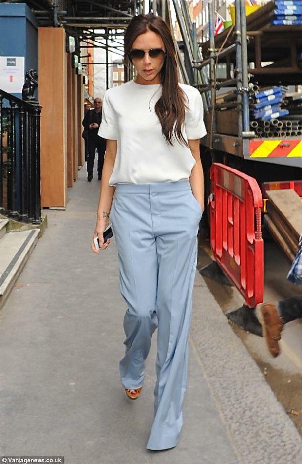 blue palazzo spring pants - victoria beckham  eb9877eb1