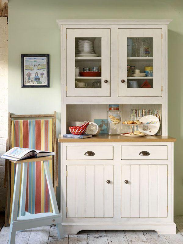 Kredens Wiejski Rustykalny Biały Kitchen Dresser China Cabinet