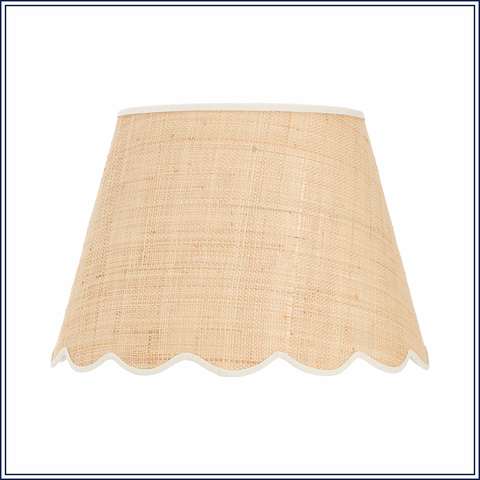 Signature Scallop Lampshade In Raffia With Cream Trim Medium Black Trim Raffia Diffused Light