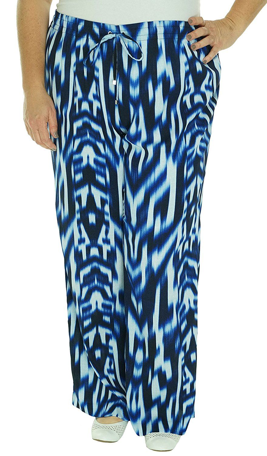dd4db8726f2 Calvin Klein Womens Plus Georgette Printed Palazzo Pants Blue 2X at Amazon  Women s Clothing store