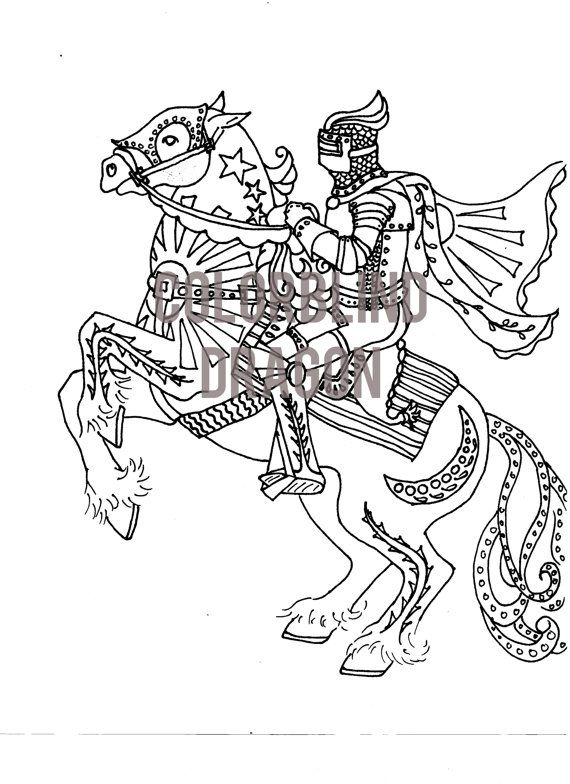 Horse Coloring Pages Knight Coloring Page Midevil Dark Ages
