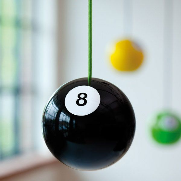 8 Ball Wooden Pendant Light