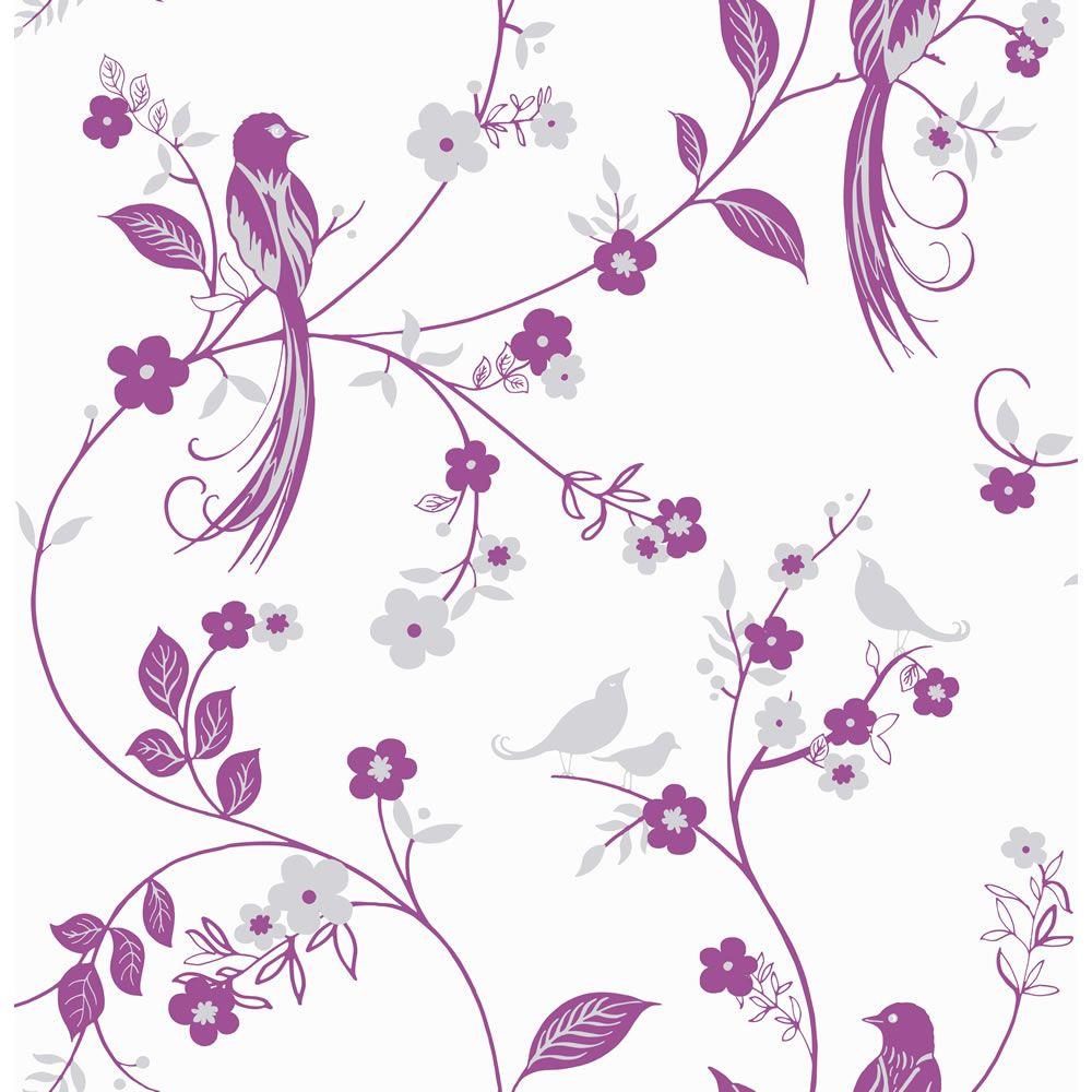 Wilko Bird Wallpaper Pink 50 607 Parents Living Room Pinterest