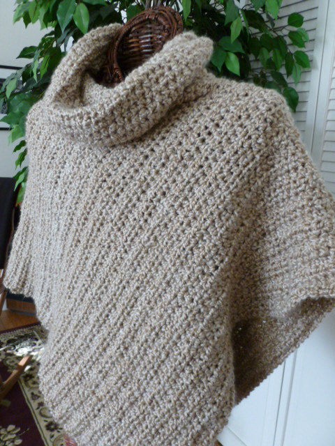 Soft Crocheted Poncho With Cowl From Lion Brand Homespun Yarn My