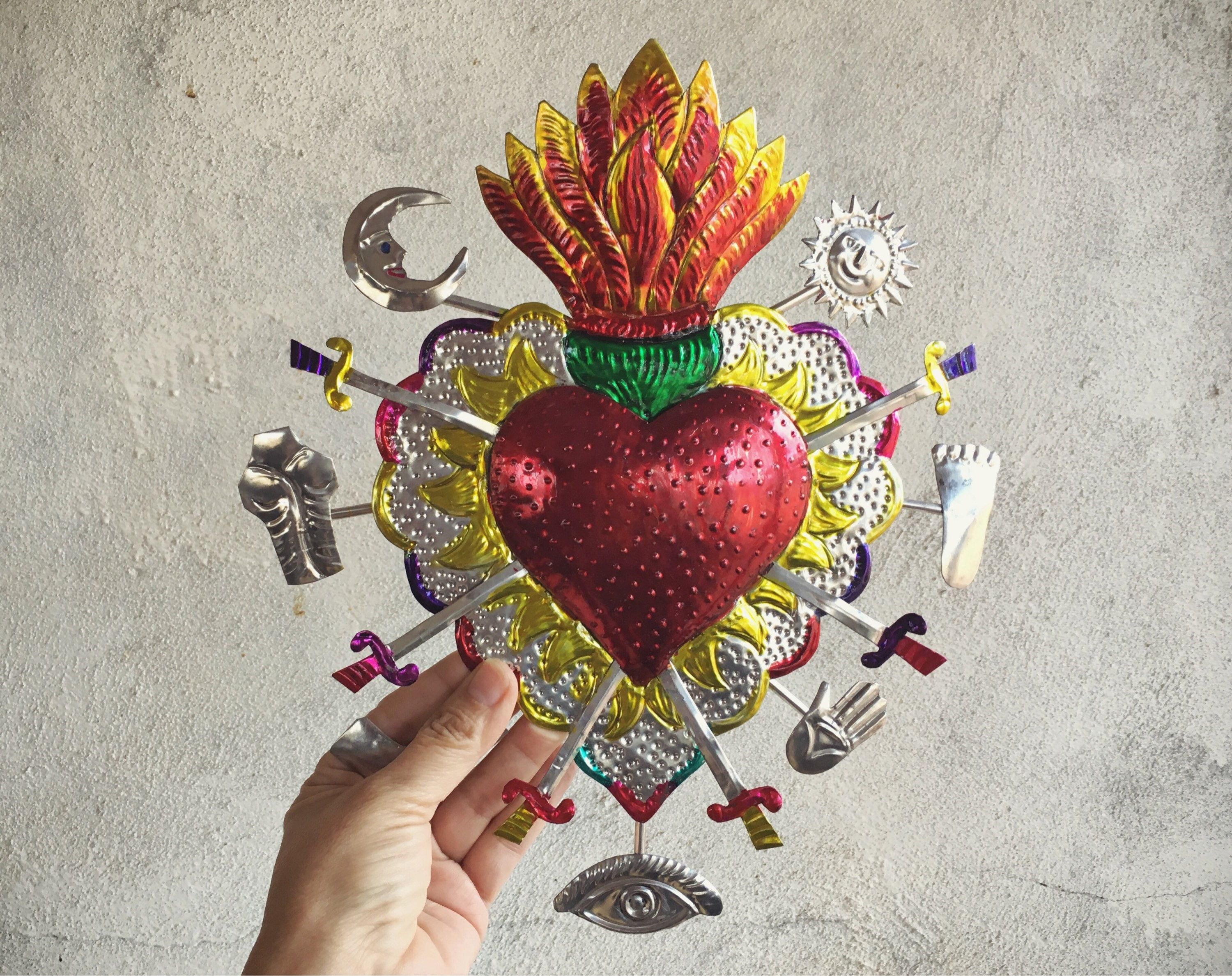 Large Mexican Tin Sacred Heart Milagro Ex Voto Wall Hanging