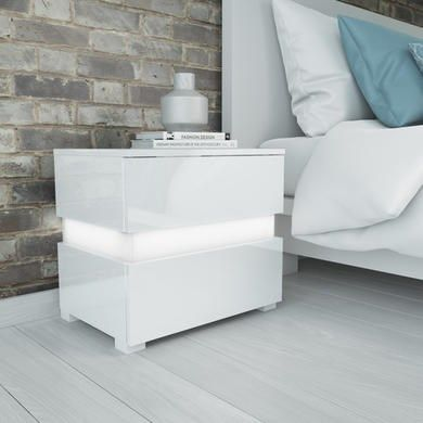 Sense White High Gloss Bedside Table With Led Light Led Bedside Table Bedside Table Bedside Table Uk