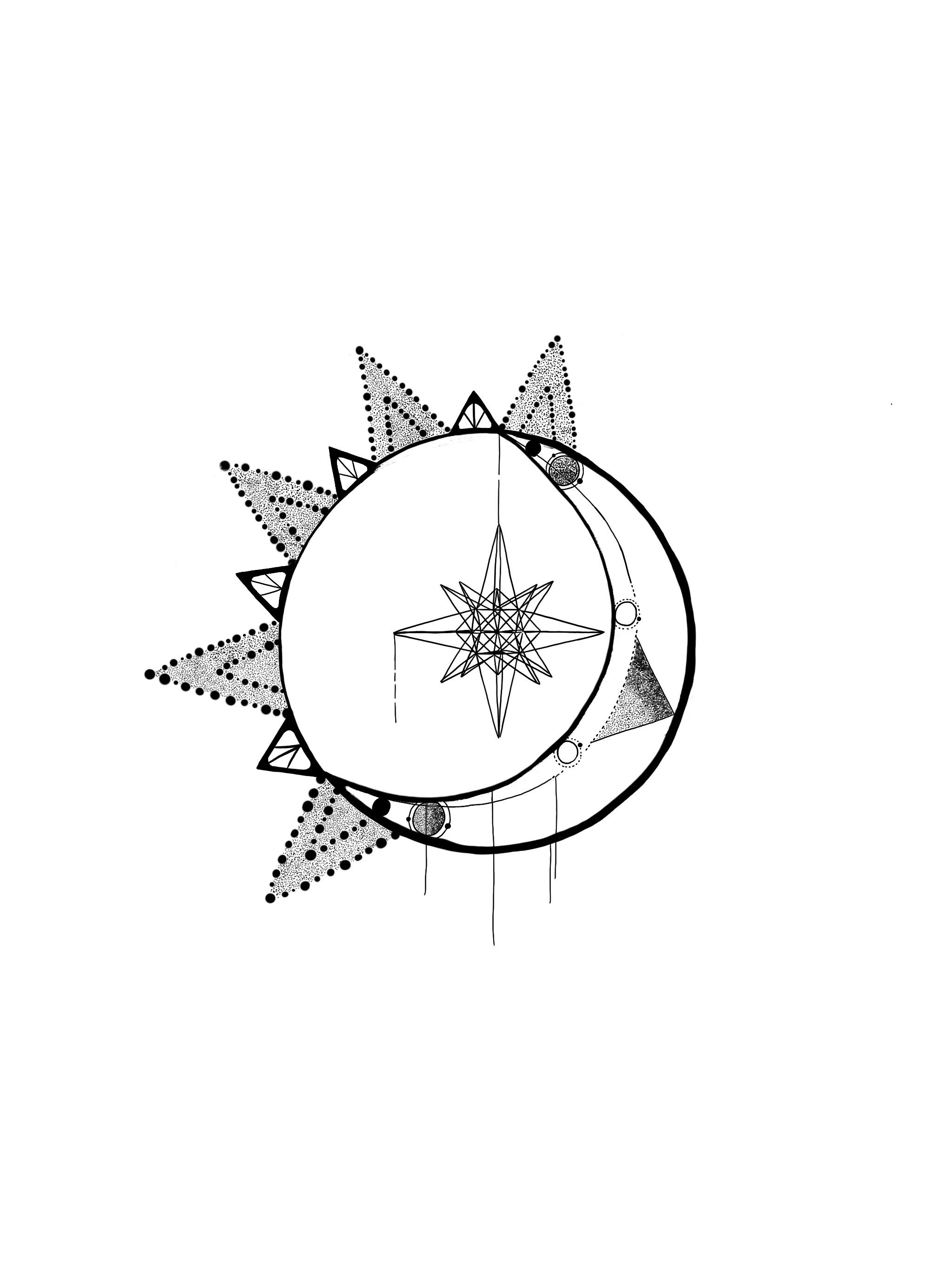 Tattoo sun stars astronomy moon geometrics ideas
