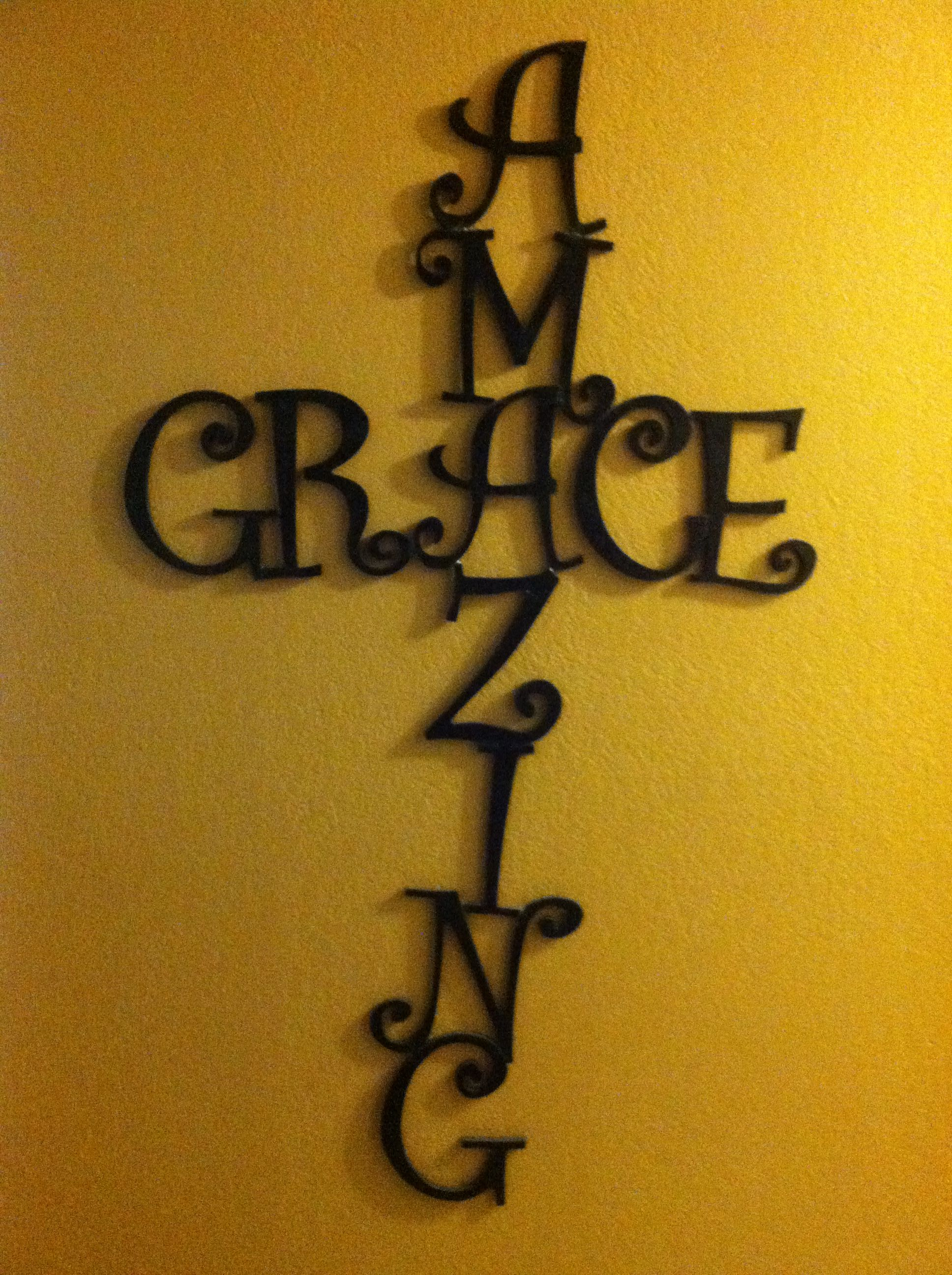 Amazing grace cross I made with hobby lobby wood letters and E6000 ...