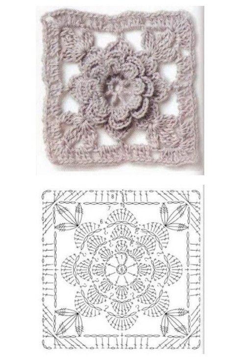 Grani con flor cuadrado crochet patrones | grany | Pinterest ...