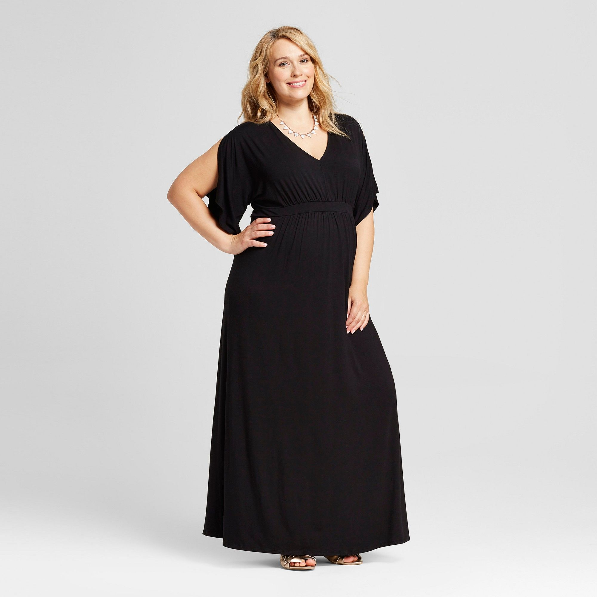 279dc312c492a Maternity Plus Size Kimono Sleeve Dress - Isabel Maternity by Ingrid &  Isabel Black 4X
