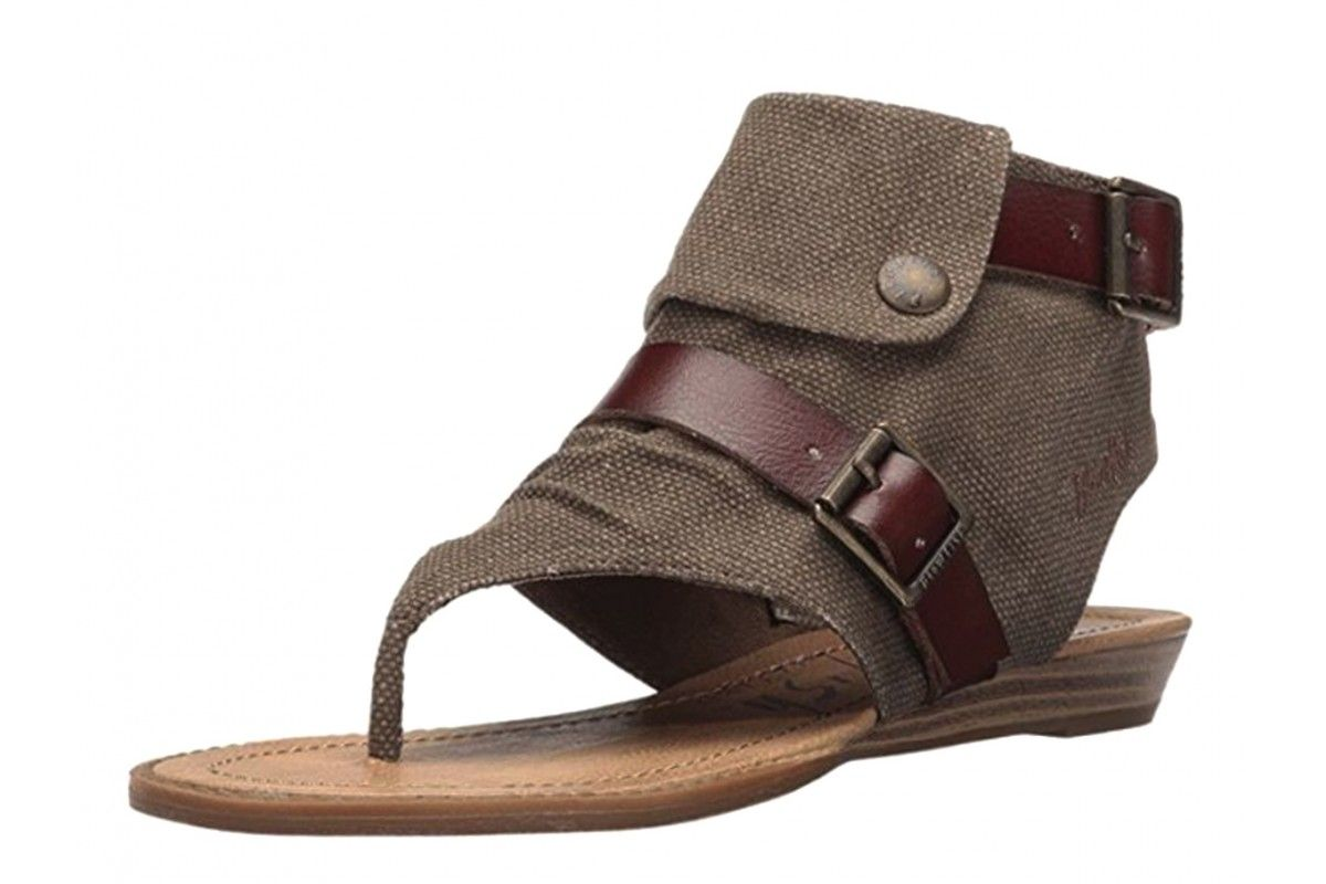 ed6c2fc5349ad Blowfish Blume Brown Rancher Canvas Whiskey Women's Open Toe Sandals ...