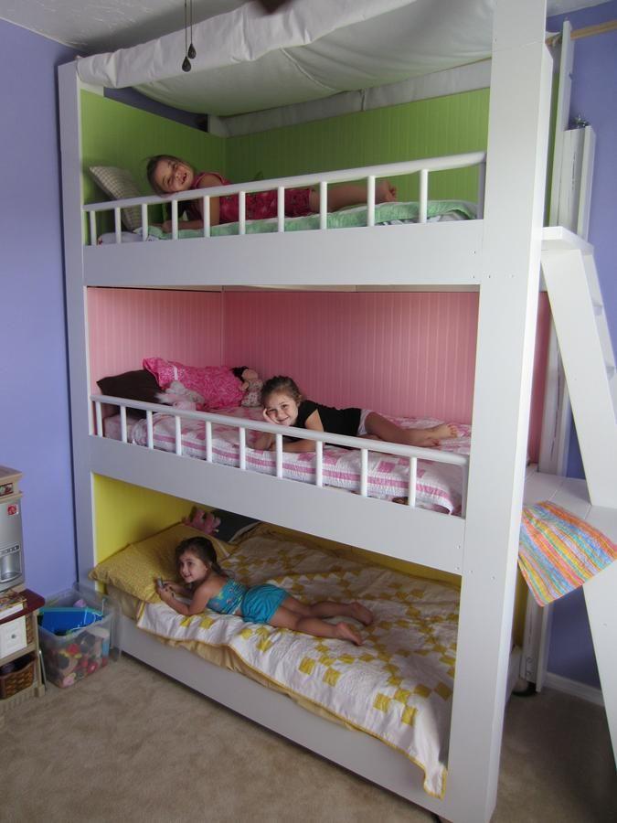 Custom Made Triple Bunk Beds In 2020 Diy Bunk Bed Bunk Bed