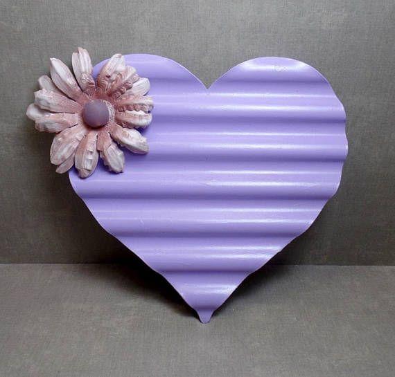 Purple Flower Metal Heart Wall Art Heart Wall Hanging | Shop My ...