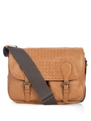 ff697fe05c30 Intrecciato washed-leather messenger bag