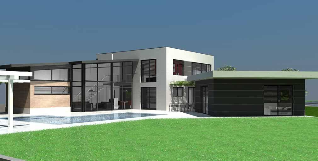 Maison d 39 architecte design toit terrasse bois et zinc toulouse archi pinterest plan for Maison architecte design