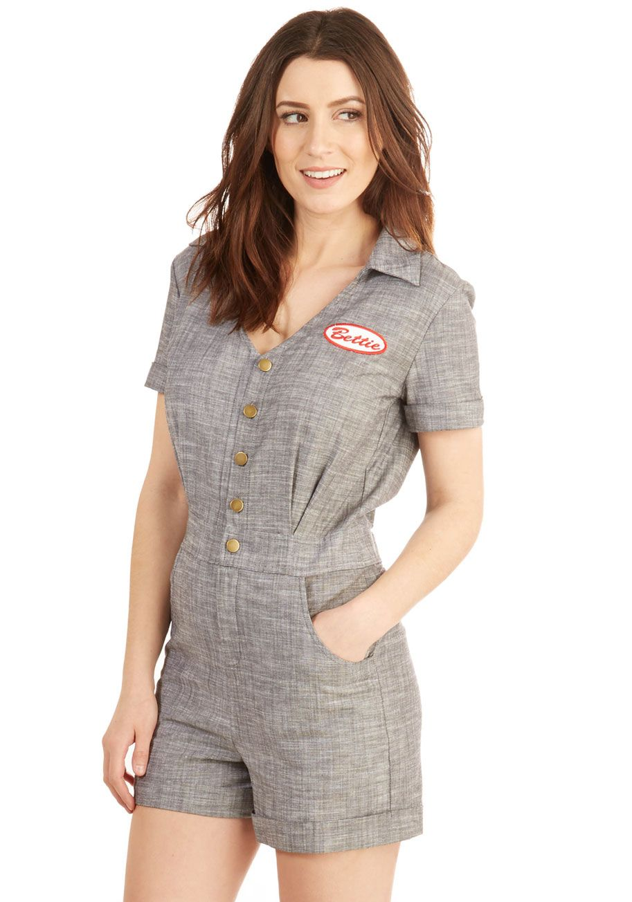 Hi, My Name Is Romper. Introduce your oh-so-stylish self in this sassy grey romper by Bettie Page! #grey #modcloth
