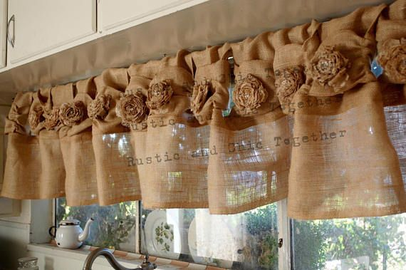 Your Windows Have Never Looked Better Dressed In This Elegant Burlap Valance Curtains Handmade Tea Stained Fa Burlap Curtains Burlap Valance Valance Curtains