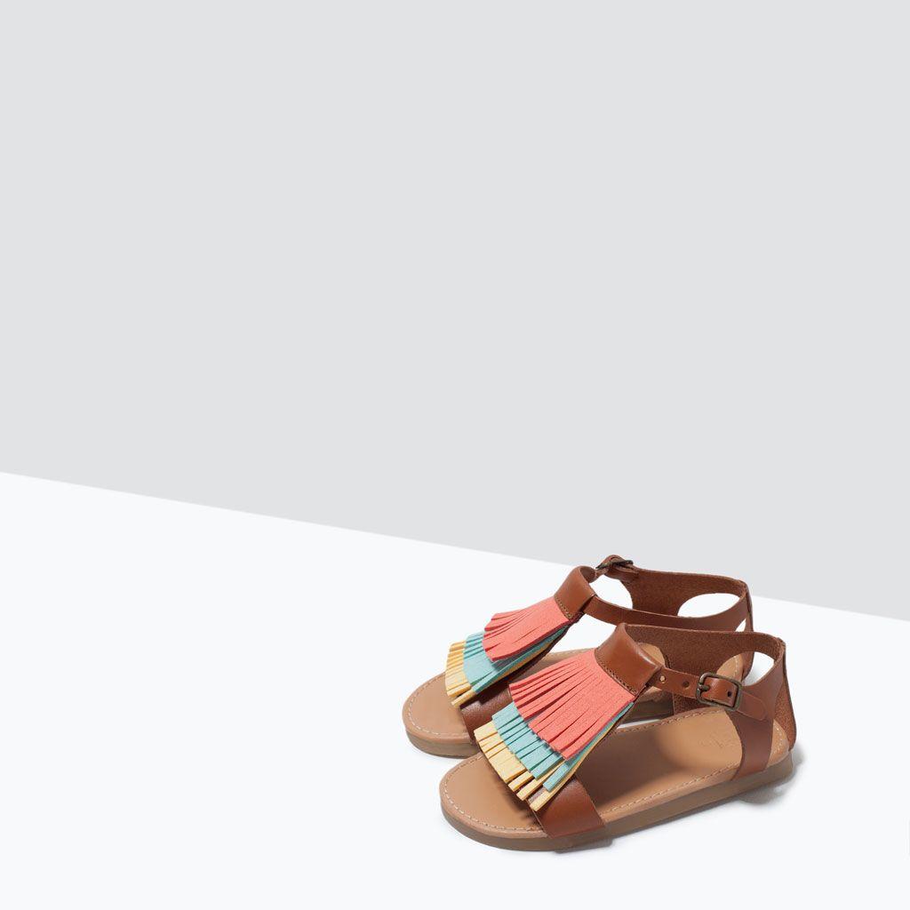 Sandales Cuir Ornées Zara En De Nouveautés FrangesChildren n0N8mw