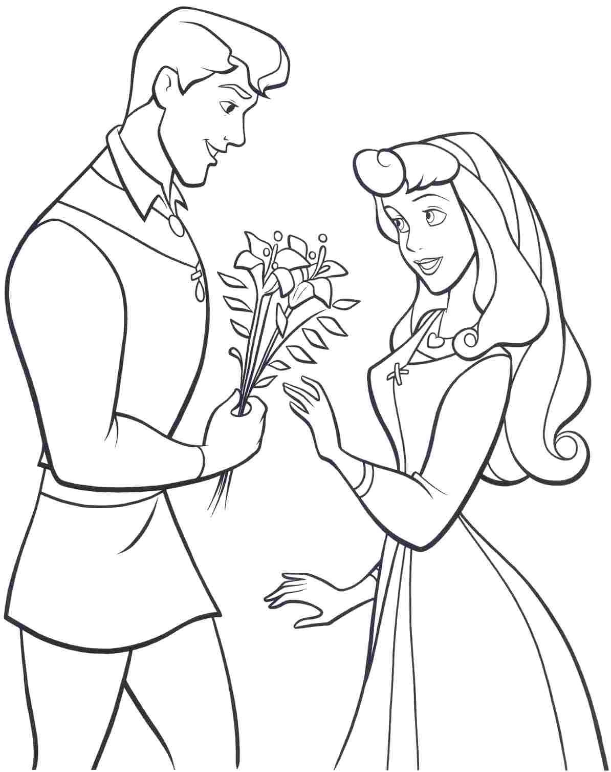 Princess Aurora Dancing With Prince Phillip Coloring Pages ...