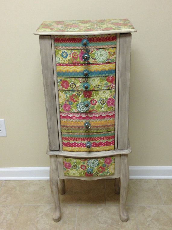 Multi Colored Repurposed Jewelry Armoire by funandfancydesigns UP