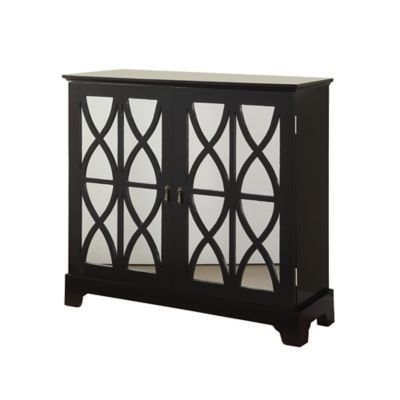 Black Console With Mirrored Glass Doors   BedBathandBeyond.com
