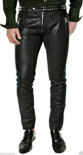 Leather Pant Designer Leather Pant Men's Biker Black Lambskin Motorcycle #Unbranded #Fitness