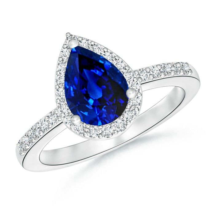 Angara Diamond Halo Pear Shape Tanzanite Engagement Ring in 14k Yellow Gold aaX6y53z