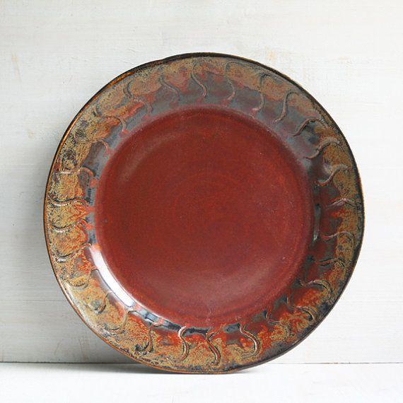 Handmade stoneware Pottery Dinnerware | Rustic Dinnerware Plate Red and Blacku2026 & Handmade stoneware Pottery Dinnerware | Rustic Dinnerware Plate Red ...