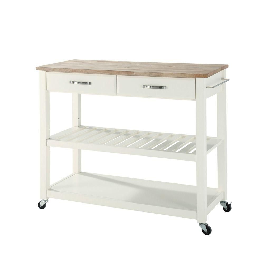 crosley 42 in  natural wood top kitchen island cart with optional stool storage in white crosley white kitchen cart with natural wood top   kitchen island      rh   pinterest com