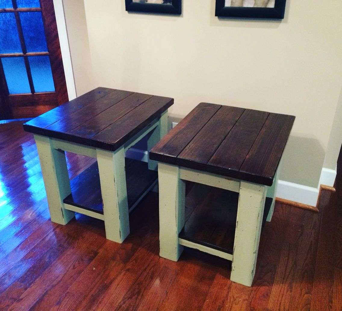 4x4 legs Rustic Farmhouse style ends table with dark wood