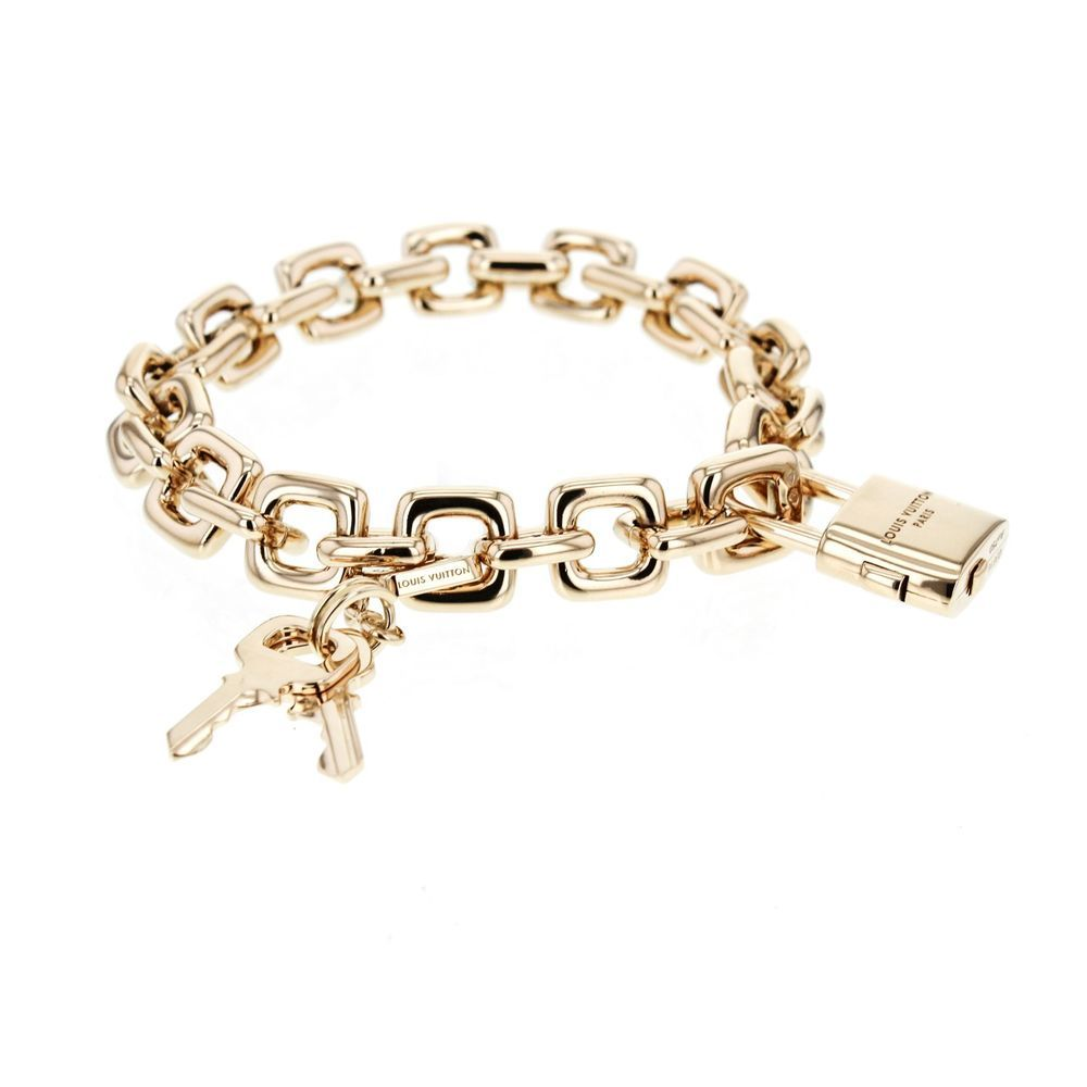 Louis vuitton padlock u keys charm bracelet in k solid yellow gold