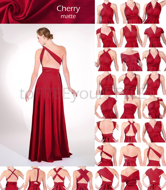 badec6bf1f1a Vestido largo infinito en cereza rojo mate completo libre | vestidos ...