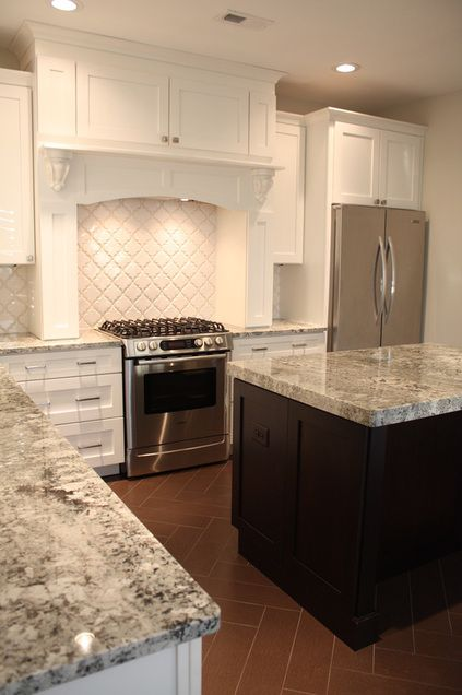 White Cabinets And Backsplash Dark Island Grey Tones In The