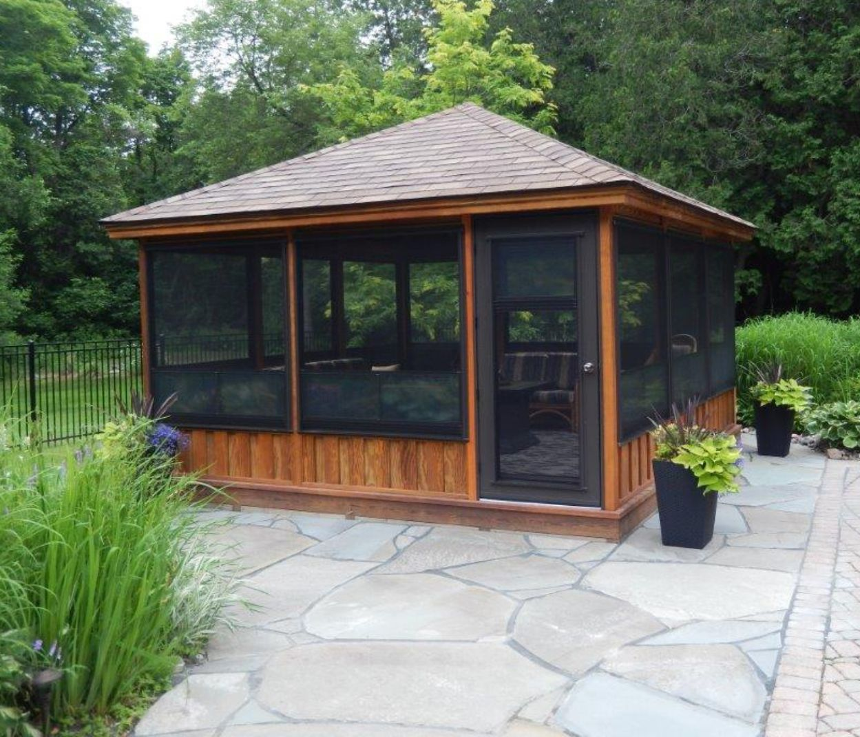 Screened gazebo kits decorative pinteres for Plans for gazebo with fireplace