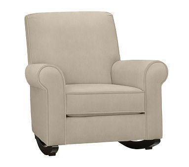 Charleston Upholstered Rocker Solid Twill Parchment