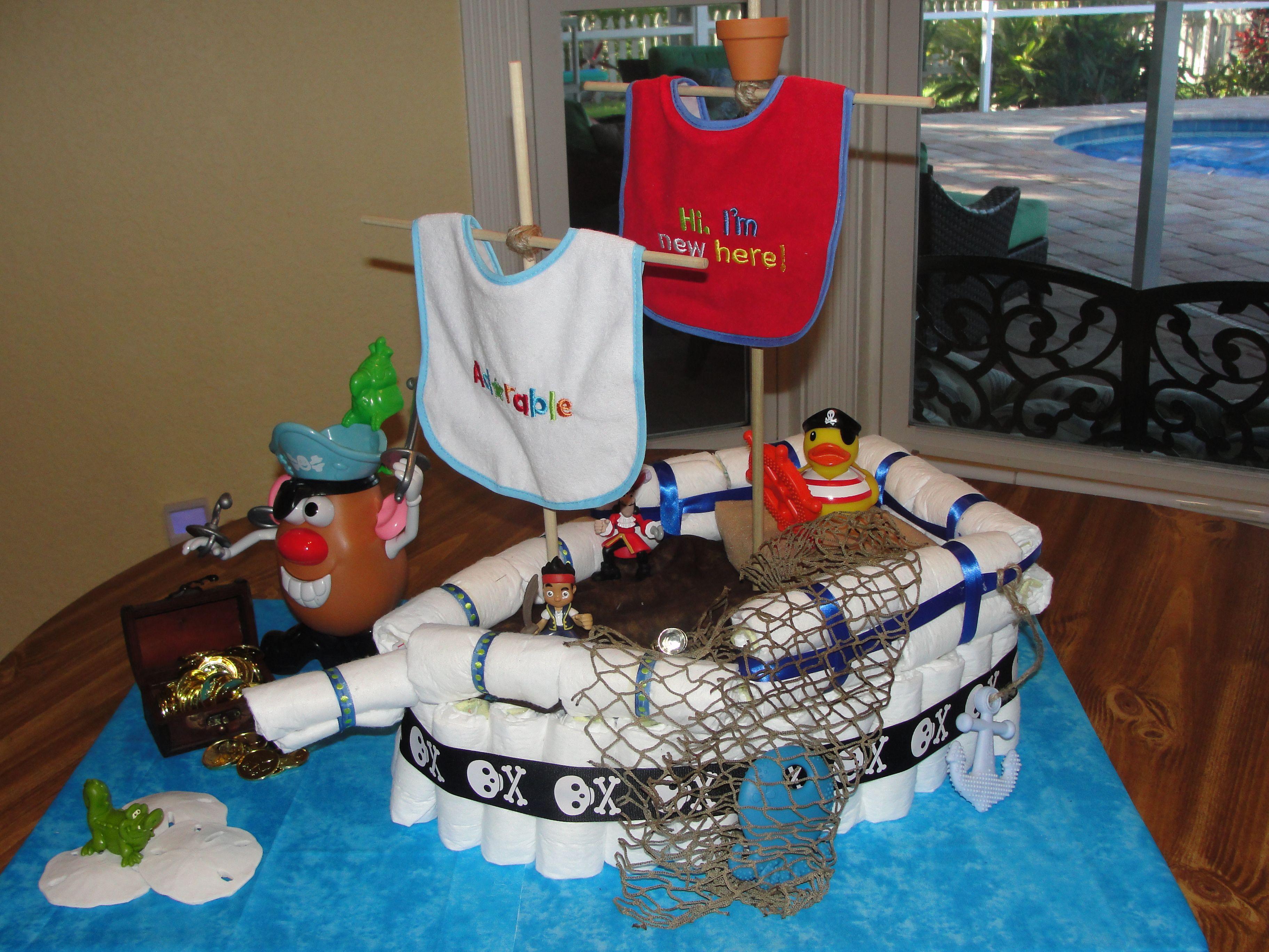 Pirate Ship Diaper Cake